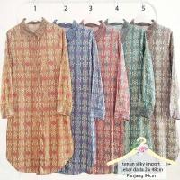 Shirt Dress Tunik Kemeja Panjang Wanita Tenun Silky Muslim - 22E17A