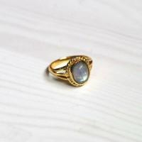 Boho Rainbow Moonstone Copper Ring Cincin Hippie Tembaga Natural