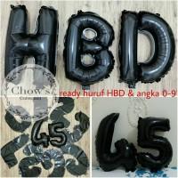 Balon Foil Huruf dan Angka Hitam / Black 40cm