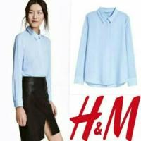 HNM COLLAr blouse HITAm navy PUTIH