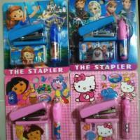 Set Staples + isi Staples dan Pen Karakter HK Frozen Dora Sofia