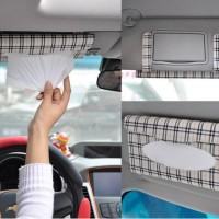 Tempat Tisu / Tissue Visor Mobil Motif Garis Kotak