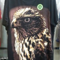 Kaos Tshirt Big Size 3D Glow Animal Elang - Hitam, XL