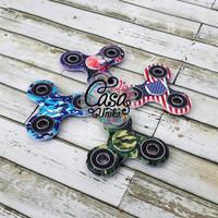 Pattern Fidget Spinner Toys - Mainan Tri Bar Flip Hand Spiner Motif