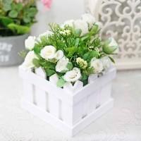 bunga plastik hias artificial + pot pagar kecil mawar / fence rose C4