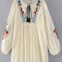 Flower Embroidery Loosen Dress