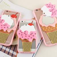 soft case casing iphone 6 6s 7 plus ice cream kaca mirror murah cute