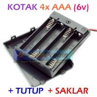 4x AAA Battery Holder Baterai Case Batere Box Kotak   Tutup Saklar