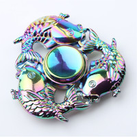 Carp fish tri-bar colorful fidget metal spinner fiddle toy