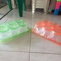 Toples plastik kaca/ mika + nampan set