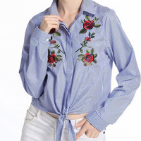 Fashion vertical striped blouse with embroidered floral