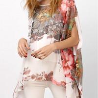 Batwing cape chiffon assymetrical floral blouse
