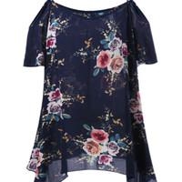 Plus size dew shoulder tiny floral blouse