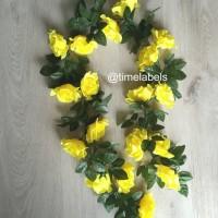 jual dekorasi bunga mawar rambat sulur artificial plastik kuning