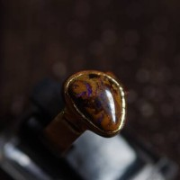 Handmade Copper Ring with natural Boulder Opal