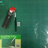 Paket Cutting mat A2+ Pen cutter free refill SDI murah