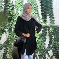 Baju Kemeja Tunik Wanita Shirt Dress Lengan Panjang Hitam Hijau