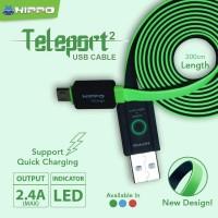 Teleport Versi 2 Micro USB 200CM Kabel Data Charger Xiaomi Samsung