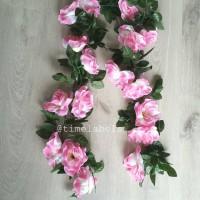 jual dekorasi bunga mawar rambat sulur gantung pink artificial plastik