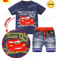GW 244 E KIDS | Setelan Jeans  Import | Cars | Color Changing