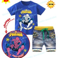 GW 244 D KIDS | Setelan Jeans  Import | Spiderman | Color Changing