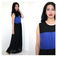 Long Hijab Maxi Dress Panjang Two Tone Tanpa Lengan