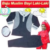 Baju Koko Bayi Rompi Etnik + Peci +Celana,Setelan Muslim Anak 6-12 bln