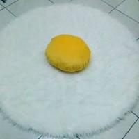 Alas Foto Lingkaran 50cm Bulu Korea Putih