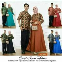 Baju Batik Couple Gamis Katun Mix Velvet Kemeja Cowok Lengan Pendek