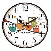Jam Dinding Bulat Style Eropa 30cm Model Owl Mooden