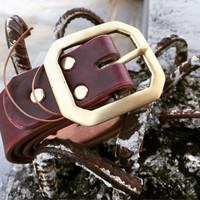 ikat pinggang kulit oxblood / leather belt / gesper / sabuk