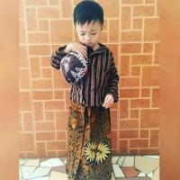 Setelan Anak Surjan Lurik Tradisional Jawa Kostum Kartinian