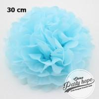 Pompom Kertas biru Muda / Pompom Kertas 30 Cm / Tissue Paper / Pompom