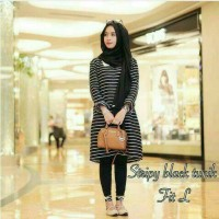 promo stripy top tunik | fashion wanita | blouse | blus muslim | tunic