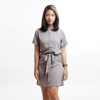 Ribbon Mini Shirt Dress Lengan Pendek Berpita Abu-abu