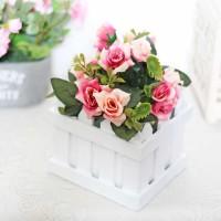 bunga plastik hias artificial + pot pagar kecil mawar / fence rose E1