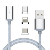 USB Nylon Magnetic 2.4A Fast Charging Data Cable 3 in 1 with LED