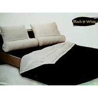 Sprei King Shyra Katun CVC Polos Black and White Tinggi 30cm