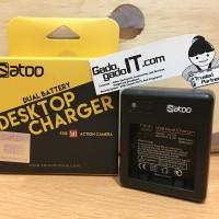 SATOO Charger Adaptor Dual Battery For Action Camera XiaoMi Yi 1 Basic