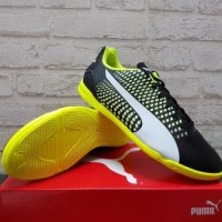 Sepatu Futsal Puma Adreno III IT Black White Yellow 104047 07 Original