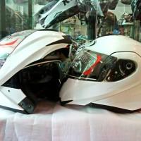 Helm KYT Modular White Solid Fullface Flip Up Putih Glossy Full