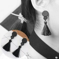 Anting Korea Leather Round Long Tassel Earrings/Anting Import Murah
