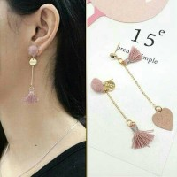 Anting Korea East Gate Asymmetric Tassel Earrings/Anting Import Unik