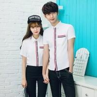 Kemeja Couple Trendy | Fashion Pasangan Distro | Avernus Putih
