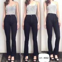 Celana Highwaist Jeans Wanita Cewek Highwaist Cutbray Black 4552