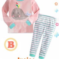 PIYAMA JUNIOR WARDROBE JW 5 B WHALE PINK (BABY SIZE) | BAJU BAYI IMPOR