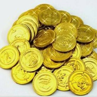 100pcs GOLD COINS Pirate Party Treasure Plastic Loot Bag Toys