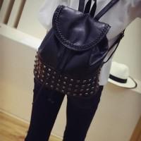 Backpack Korea Import Murah Tas Wanita Online Hitam Motif Manik-Manik