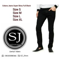 Celana Jeans Skinny Pensil Pria Full Black Size S/M/L/XL Best Seller
