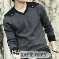 Baju Rajut Pria Korea Kafie Grey Sweater Murah